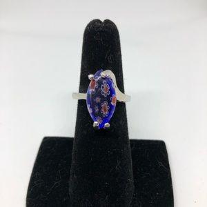 Blue floral cocktail ring